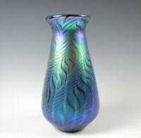 Lundberg Studios Art Glass Vase Blue Iridescent