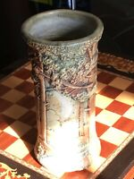 Vintage WELLER WOODLAND FOREST ART POTTERY VASE 8-1/8""