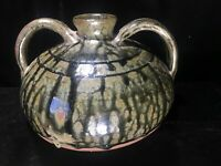 Cleater & Billie Meaders Squat Jug Southern America Folk Art Pottery Two Handle