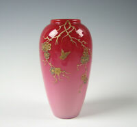Antique Bohemian or English Peachblow Art Glass Pink Vase with Gold Butterfly