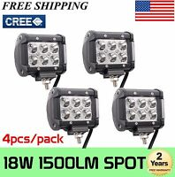 4x 4inch 18W SPOT LED Driving Work Light Bar 4WD Truck Offroad Pods ATV SUV CARS