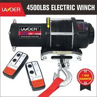 LAYOER 4500lb Electric ATV Winch Synthetic Rope 2 Wireless Remote