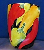 Clay Art Caliente Hand Painted 2001 Hot Pepper Vase Stone Lite Clay 7