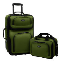 Travel Bags 21 Inch 2 Piece Carry On Luggage Set Soft Suitcase 2 Bag Wheels