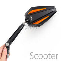 pair mirrors Achilles black + orange 8mm 1.25 pitch for scooter moped atv ε