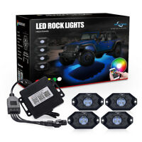 4 Pod RGB LED Rock Lights Offroad Music Wireless Bluetooth Control ATV