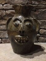 """XL Charles Lisk Vale NC Southern folk pottery face jug Mint Condition 13"""" Tall"""