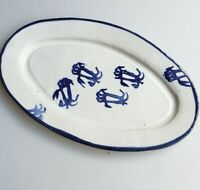 Virginia studio pottery blue crabs oval serving platter The Poddery