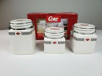 2003 Gibson Coca-Cola Canister Set of 3 Square Ceramic Checkerboard With Box