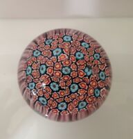 Vintage  Paperweight Millefiori Red White Blue  3