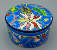 Vintage Emaux d' Art  Longwy Faience Enamel Covered Box Blue with Flovers France