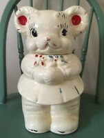VINTAGE AMERICAN BISQUE TURNABOUT BEAR COOKIE JAR TWO SIDED BOY&GIRL,12