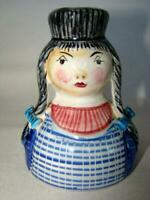 Vintage ITALIAN Pottery Hand Painted GIRL in BRAIDS Candle Stick, ITALY