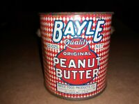 vintage BAYLE Peanut Butter Tin Can with Lid & Bale handle Red & White PLAID