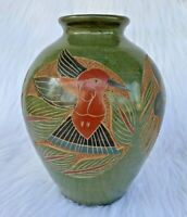 Vintage Handmade Green Nicaragua Clay Pottery Vase Traditional Carved Folk Art