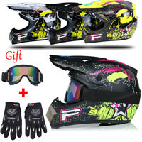 DOT Motocross Offroad ATV Dirt Bike Protector Helmet+Goggles+Gloves S M L XL