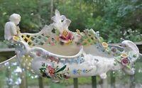 Hand Painted with Flowers and Boy Ceramic Footed Centerpiece Bowl Made In Italy