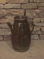 Georgia Folk Pottery XL Coffee Pot Shelby West 2009 With Lid Wood Fired