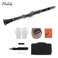 Muslady ABS 17-Key Clarinet Bb Flat with Carry Case Gloves Cleaning Cloth U1M6