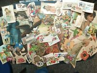 1890s or Older Victorian Die Cut Scraps, Calling Cards, Trade Cards, Appx182 pcs