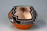 Acoma Pueblo Native American Indian Pottery Butterfly Bowl - Marilyn Ray