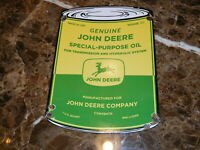 GENUINE JOHN DEERE SPECAIL PURPOSE OIL CAN PORCELAIN SIGN 8 X 11'' OUART CAN