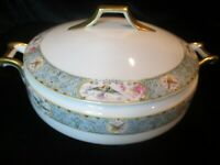CROWN CHINA CZECHOSLOVAKIA BIRD BUTTERFLY BLUE BAND COVERED VEGETABLE BOWL