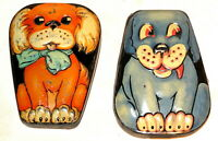 2x English Figural Dainty Dinah Horner Dog Toffee Candy Tin 1930