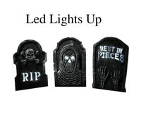 Led Lights Grave Sign Halloween Tombstone Prop Yard Haunted House Decor Outdoor
