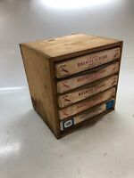 Vintage Antique Hardware Store Counter Display Dovetailed Wood Bin 5 Parts Box