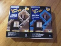 New ! EZ-Illuminations Super Sparkle 60 LED Icicle Lights Cool white or Blue