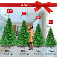 Tall Christmas Tree w Stand 5/6/7/7.5' Home Outdoor Realistic Pine 450-1200 tips