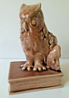 LIV 1954 Rookwood Art Pottery Brown Owl Bookend # 2655 Gloss Vintage USA Pottery