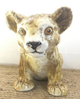 Italian Italy Pottery Lion Cub Cat Kitten Baby Figurine Statue 7.5 Inches Large