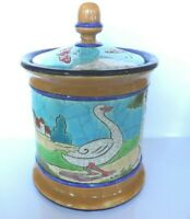 Vintage French Pottery Geese Butterflies Jar Lid Longwy France Craqueleur