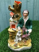 SUPERB MID 19thC STAFFORDSHIRE MALE FIGURE WITH RABBIT & FOX SPILL VASE c1860s