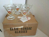 4 VINTAGE ELSIE THE COW FOOTED ICE CREAM DESSERT GLASSES DISHES
