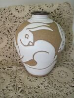 BEAUTIFUL HAND THROWN SIGNED POTTERY VASE WITH WHITE RABBITS