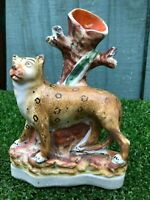 SUPERB MID 19thC STAFFORDSHIRE LEOPARD FIGURE WITH DECORATIVE SPILL VASE c1850s