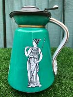 SUPERB MID 19thC PITCHER, JUG WITH CLASSICAL FIGURE DECORATION, PEWTER LID c1840
