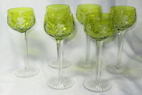 6 GORGEOUS cut back to crystal GREEN CHARTREUSE WATER WINE GOBLET STEMS