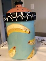 SIGNED DROLL DESIGNS BANANA HAND PAINTED CANISTER 9 1/2