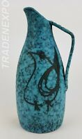 Vintage 1960-1970  Blue West German Pottery Vase  With Bird Decor Fat Lava Era