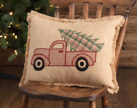CHRISTMAS FARM PICKUP TRUCK 14x18 PILLOW : VINTAGE PINE TREE RED HOLIDAY