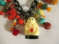 VTG BUDDAH NECKLACE 1930  CELLULOID CRACKER JACK/ GUMBALL CHARMS