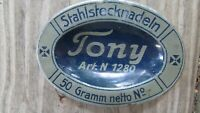 Vintage Oval Tin Stahlstecknadeln Steel Pin Box Tony 1930s Germany Unusual