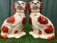 SUPERB PAIR: ANTIQUE KSP POTTERY STAFFORDSHIRE RUSSET RED & WHITE SPANIEL DOGS