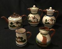 Devon motto ware Lot of 5 English clay tea pots and cream