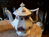 Antique White Ironstone Coffeepot/Teapot W/Luster Grapes
