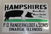 Original Vintage  Hampshires Pig Hog Feed Farm 2 Sided 30